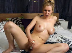 Big-titted honey use  and jerk in the..