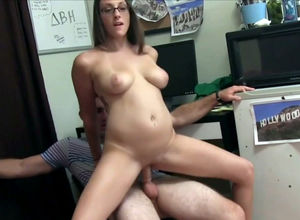 Maiden young lady in glasses flashing..